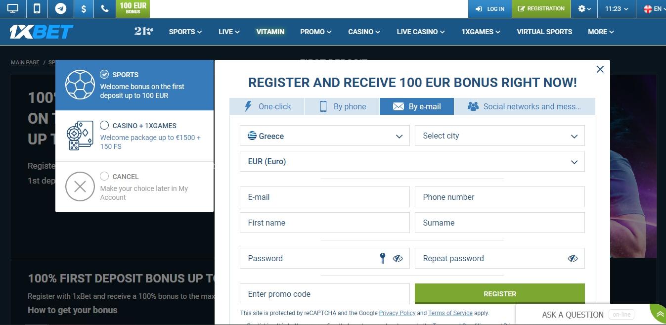 register 1xBet online via email