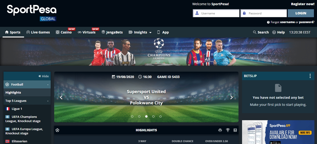 SportPesa Tanzania betting online website